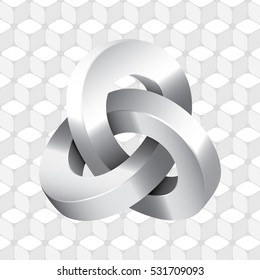 Triple Mobius Loop Impossible Geometric Figure Icon In Front of Repeating Cube Pattern Wallpaper Inspired by Escher - Glossy Greyscale Elements on Light Background - Gradient and Flat Graphic Style