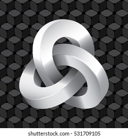 Triple Mobius Loop Impossible Geometric Figure Icon In Front of Repeating Cube Pattern Wallpaper Inspired by Escher - Glossy Greyscale Elements on Black Background - Gradient and Flat Graphic Style