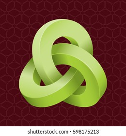 Triple Mobius Loop Impossible Geometric Figure Inspired by Escher In Front of Repeating Cube Pattern Wallpaper - Green Isometric Object on Brown Background - Gradient and Flat Graphic Style