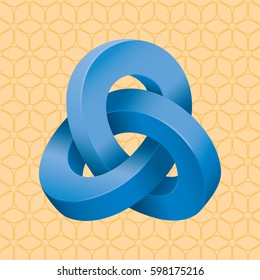 Triple Mobius Loop Impossible Geometric Figure Inspired by Escher In Front of Repeating Cube Pattern Wallpaper - Blue Isometric Object on Orange Background - Gradient and Flat Graphic Style