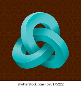 Triple Mobius Loop Impossible Geometric Figure Inspired by Escher In Front of Repeating Cube Pattern Wallpaper - Turquoise Isometric Object on Brown Background - Gradient and Flat Graphic Style