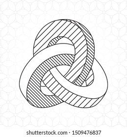 Triple Mobius Loop Technical Draw Style Impossible Geometric Figure Inspired by Escher - Black Isometric Object on Repeating Cube Pattern Wallpaper Background - Vector Outline Graphic Design