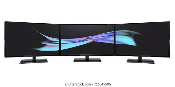 Triple monitor setup. Super widescreen. Multiple monitor setup. 3 monitors setup aspect ratio 16:9. Multiple wallpaper on screens.