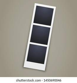 Triple photo template design - blank frame with 3 photos - realistic photo booth image illustration on grey background