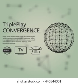 Triple play Convergence broadband Internet access and television, and the latency-sensitive telephone over a single broadband connection on green blur background