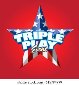Triple Play Event Vector Headline Red