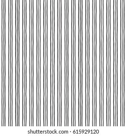 Triple stripes, pinstripes vector seamless repeat pattern. Thin uneven threefold lines. Black and white striped monochrome geometric background. Free hand drawn bars. Doodle style streaks texture.
