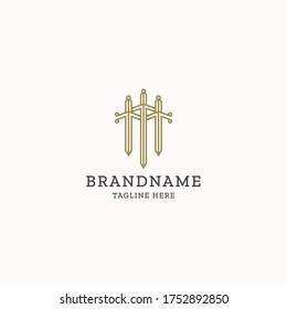 Triple sword letter M logo icon design template