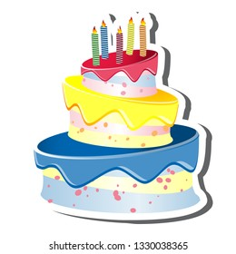 Triple tiered birthday cake and candles vector with white outline and a shadow