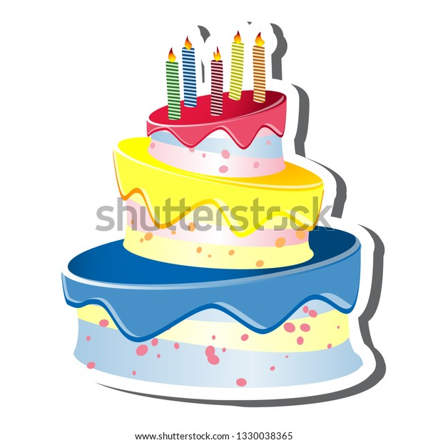 Triple Tiered Birthday Cake Candles Vector Stock Vector Royalty Free 1330038365