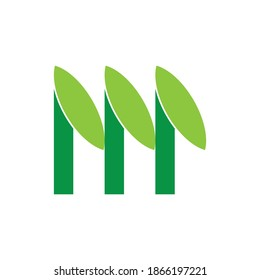 Triple tree logo, M letter with leaf logo design vector
