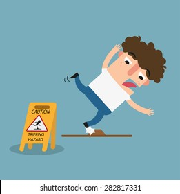 Tripping hazard caution sign.Danger of stumbling isolated illustration vector