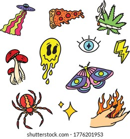 Trippy Doodles including Pizza, Butterfly, Lightning, Spider, Flame-hand, Mushrooms, Cannabis, Eye, Sparkle, and Spaceship
