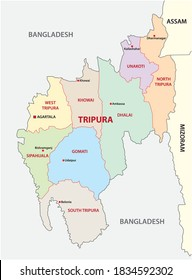 Tripura administrative and political vector map, india