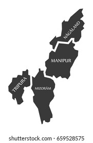 Tripura - Mizoram - Manipur - Nagaland Map Illustration of Indian states