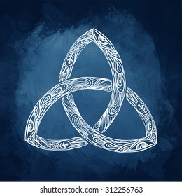 Triquetra: Celtic, body, mind and spirit symbol. Trinity, knot interlaced sign for your logo, design or project (vector illustration). Alchemy, religion, spirituality, occultism, tattoo art.