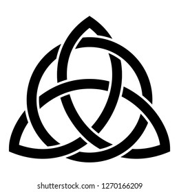 Triquetra in circle Trikvetr knot shape Trinity knot icon black color