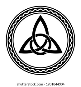 Triquetra with extra twist, a Celtic knot, in a circle frame with wavy line. Intertwined triangular figure used in ancient Christian ornamentation, and a border with zigzag line. Illustration. Vector.