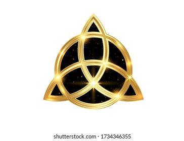 Triquetra geometric logo, Gold Trinity Knot, Wiccan symbol for protection. Vector golden Celtic trinity knot set isolated on white background. Wiccan divination symbol, ancient occult sign