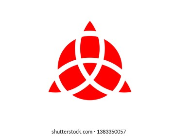 Triquetra geometric logo, Red Trinity Knot, Wiccan symbol for protection. Vector Celtic trinity knot isolated on white background. Wiccan Ancient occult divination symbol