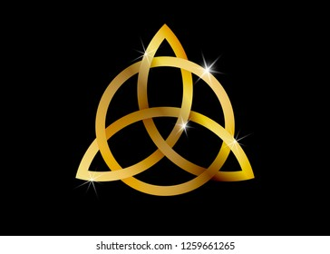 Triquetra, Gold Trinity Knot, Wiccan symbol for protection. Vector golden Celtic trinity knot set isolated on black background. Wiccan divination symbol, logo Ancient occult symbols