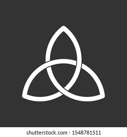 Triquetra symbol. Celtic trinity knot. Three parts unity icon. Ancient ornament symbolizing eternity. Infinite loop sign of interlocking shapes. Interconnected loops make trefoil. Vector illustration.