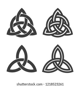 Triquetra symbol set of celtic trinity knot vector icon