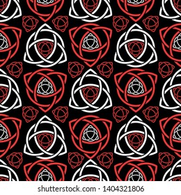 Triquetra trefoil seamless pattern red and white tone on black, vector illustration