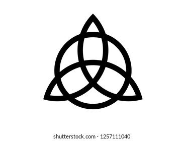 Triquetra, Trinity Knot, Wiccan symbol for protection. Vector Black Celtic trinity knot set isolated on white background. Wiccan divination symbol, Ancient occult symbols