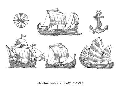 Trireme, caravel, drakkar, junk, anchor, compass rose. Set sailing ships floating on the sea waves. Vintage vector engraving illustration for poster, label, postmark. Isolated on white background.