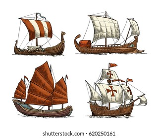 Trireme, caravel, drakkar, junk. Set sailing ships floating on the sea waves. Hand drawn design element. Vintage vector color engraving illustration for poster, postmark. Isolated on white background.