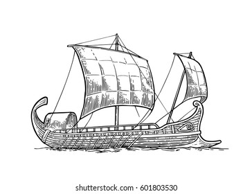 Trireme floating on the sea waves. Hand drawn design element sailing ship. Vintage vector engraving illustration for poster, label, postmark. Isolated on white background