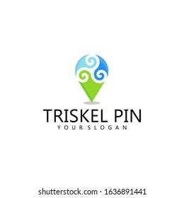 Triskel Pin Logo Vector Template