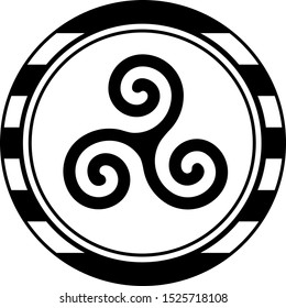 Triskele round logo. Symbol celtic  of Brittany/France on the black and white lined background as a breton flag.