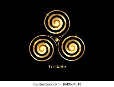 Triskelion or triskele symbol. Gold Triple spiral Celtic sacred sign. Wiccan fertility symbols logo design. Luxury Art print tattoo golden vector illustration isolated on black background