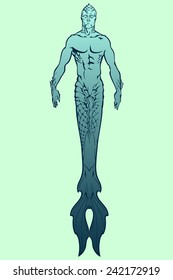 Triton - deep see mythological creature. Simple linear drawing isolated on light green background. EPS8 vector illustration.