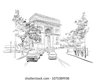 Triumphal Arch. Paris, France. Urban sketch. Hand drawn vector illustration