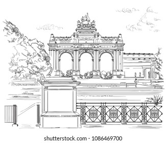 The triumphal arch in the park of the fiftieth anniversary in Brussels (Belgium). Landmark of Brussels.  Vector hand drawing monochrome illustration isolated on white background.