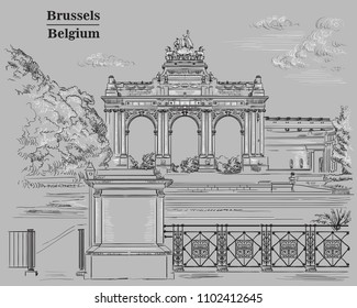 The triumphal arch in the park of the fiftieth anniversary in Brussels (Belgium). Landmark of Brussels. Vector hand drawing monochrome illustration isolated on grey background.