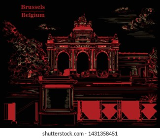 The triumphal arch in the park of the fiftieth anniversary in Brussels (Belgium). Landmark of Brussels. Vector hand drawing monochrome illustration in red color isolated on back background.