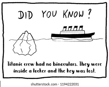 Trivia fact series - fun cartoon doodle newspaper comic strip concept. Titanic ship facts.