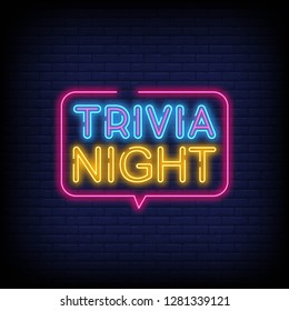 Trivia night announcement neon signboard vector With Brick Wall Background. Light Banner  Design element  Night Neon Advensing. Vector illustration