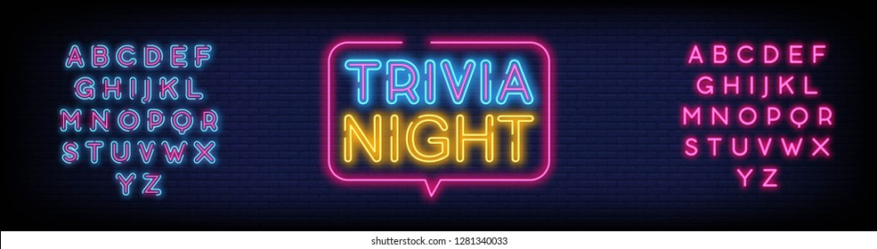 Trivia night announcement neon signboard vector With Brick Wall Background. Light Banner  Design element  Night Neon Advensing. Vector illustration. Editing Text Neon