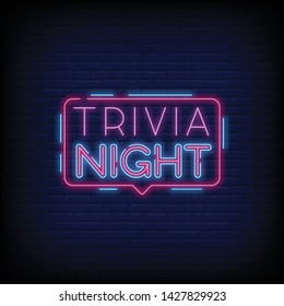 Trivia night announcement neon signboard vector with a Brick Wall Background. Light Banner  Design element  Night Neon. Vector illustration