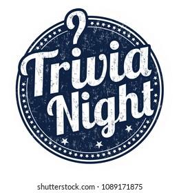 Trivia night grunge rubber stamp on white background, vector illustration