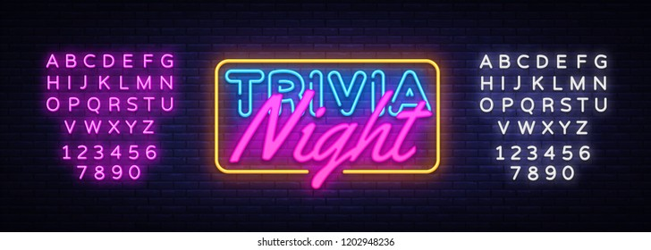 Trivia Night neon sign vector. Quiz Time Design template neon sign, light banner, neon signboard, nightly bright advertising, light inscription. Vector illustration. Editing text neon sign