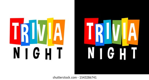 Trivia night on white and black background