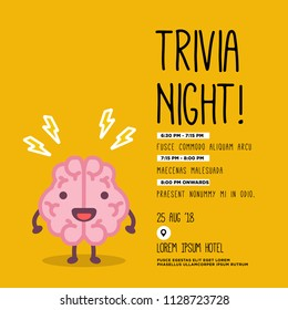Trivia Night Poster with Brain Cartoon Vector Illustration with Text Template