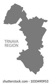 Trnava Region map of Slovakia grey illustration shape