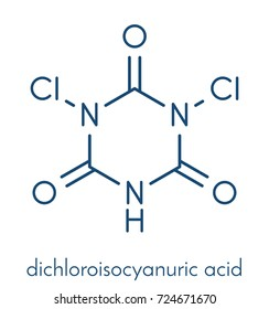 Troclosene., dichloroisocyanuric acid molecule. Used as disinfectant, deodorant, biocide, detergent and in water purification. Skeletal formula.